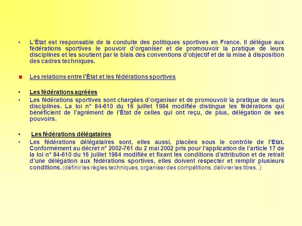 LÉtat est responsable de la conduite des politiques sportives en France. Il délègue aux fédérations sportives le pouvoir dorganiser et de promouvoir l