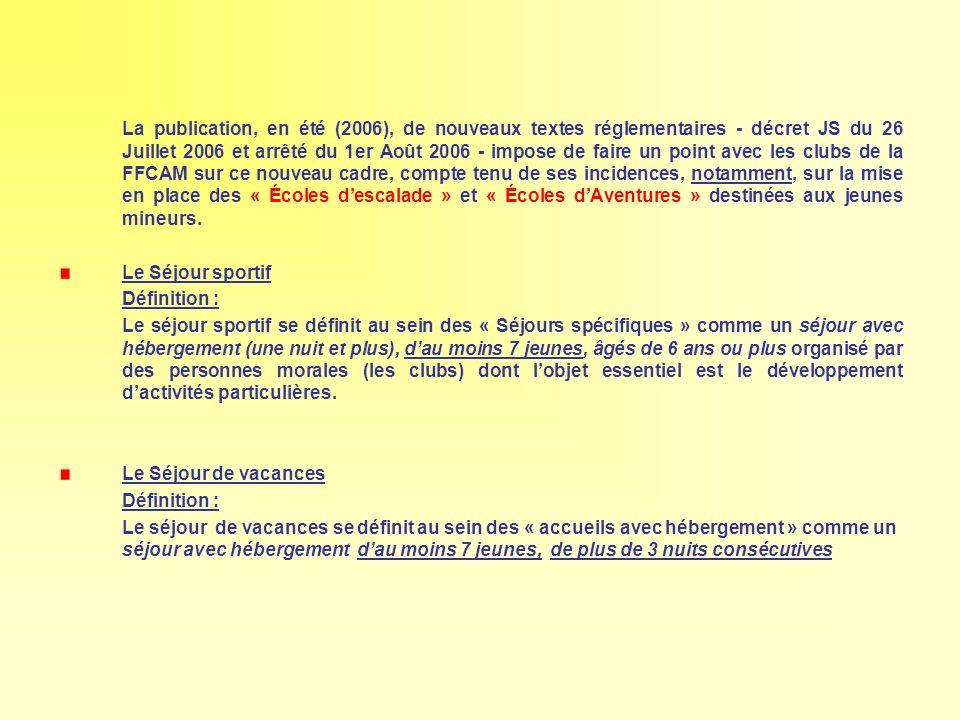 La publication, en été (2006), de nouveaux textes réglementaires - décret JS du 26 Juillet 2006 et arrêté du 1er Août 2006 - impose de faire un point
