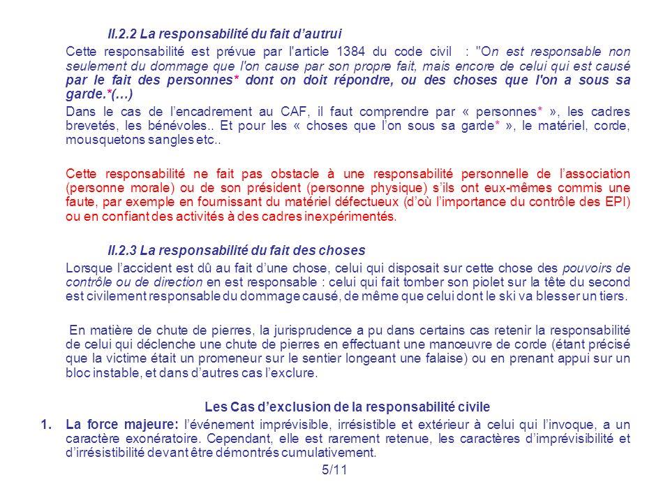 II.2.2 La responsabilité du fait dautrui Cette responsabilité est prévue par l'article 1384 du code civil :