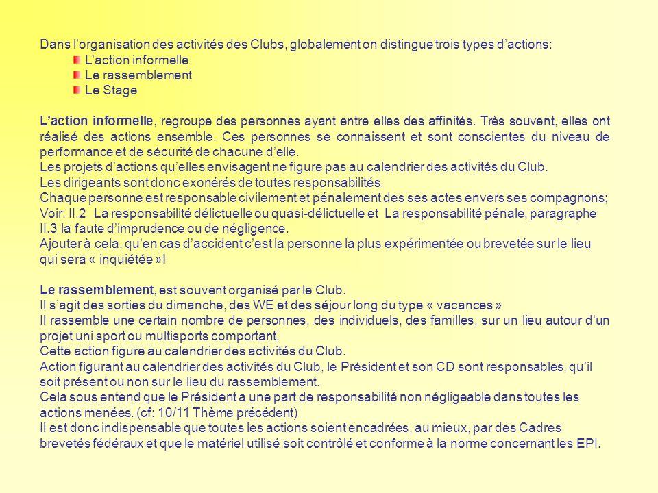 Dans lorganisation des activités des Clubs, globalement on distingue trois types dactions: Laction informelle Le rassemblement Le Stage Laction inform