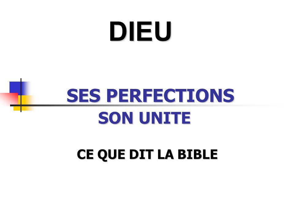 SES PERFECTIONS SON UNITE CE QUE DIT LA BIBLE CE QUE DIT LA BIBLE DIEU