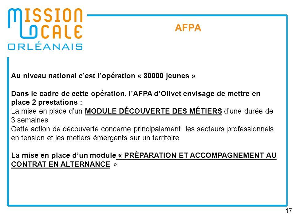 17 AFPA Au niveau national cest lopération « 30000 jeunes » Dans le cadre de cette opération, lAFPA dOlivet envisage de mettre en place 2 prestations