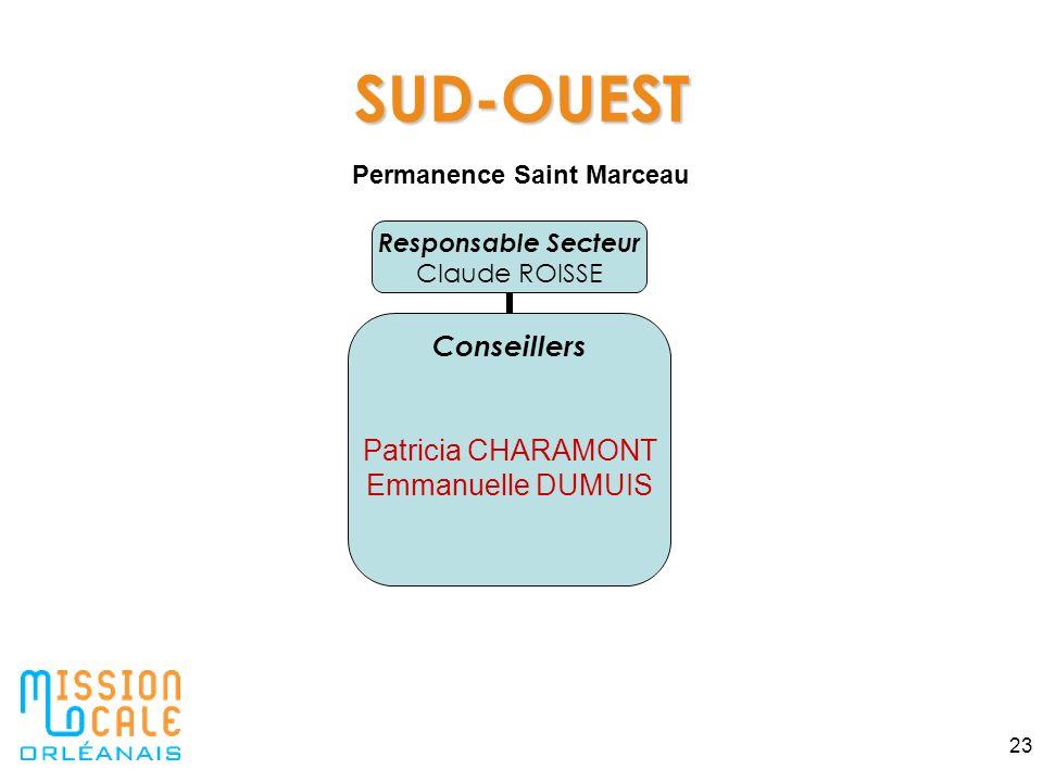 23 SUD-OUEST Responsable Secteur Claude ROISSE Conseillers Patricia CHARAMONT Emmanuelle DUMUIS Permanence Saint Marceau