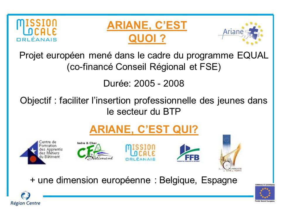 1 ARIANE, CEST QUOI ? Projet européen mené dans le cadre du programme EQUAL (co-financé Conseil Régional et FSE) Durée: 2005 - 2008 Objectif : facilit