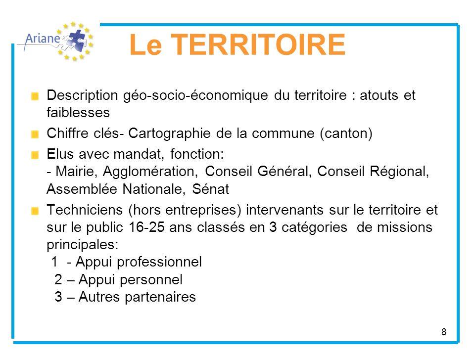 8 Le TERRITOIRE Description géo-socio-économique du territoire : atouts et faiblesses Chiffre clés- Cartographie de la commune (canton) Elus avec mand