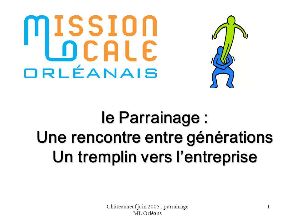 Châteauneuf juin 2005 : parrainage ML Orléans 2 Objectif 2005 : 77 jeunes et un réseau de 30 parrains.