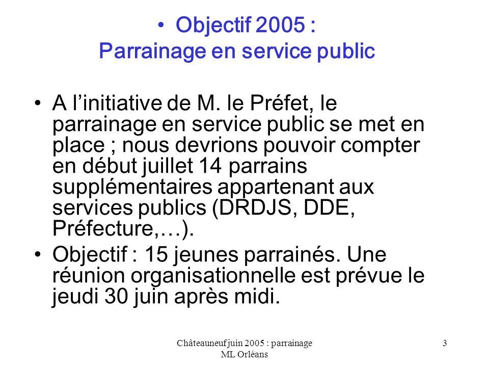 Châteauneuf juin 2005 : parrainage ML Orléans 4 Action expérimentale avec le Centre des Jeunes Dirigeants dEntreprises (CJD) Signataire de la charte régionale de parrainage, le CJD met à disposition des jeunes parrainés des conseils et son réseau dentreprises.