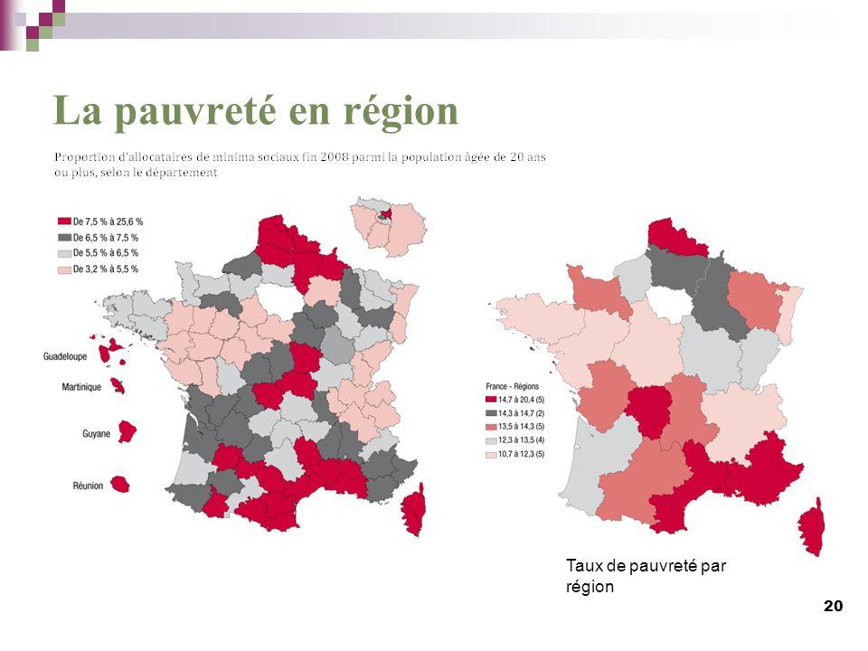 La pauvreté en région Taux de pauvreté par région 20