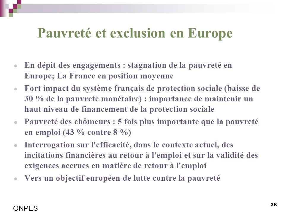 Pauvreté et exclusion en Europe En dépit des engagements : stagnation de la pauvreté en Europe; La France en position moyenne Fort impact du système f