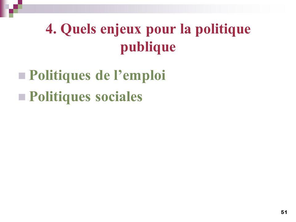 4. Quels enjeux pour la politique publique Politiques de lemploi Politiques sociales 51