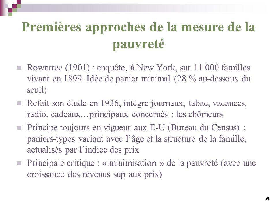 Premières approches de la mesure de la pauvreté Rowntree (1901) : enquête, à New York, sur 11 000 familles vivant en 1899. Idée de panier minimal (28