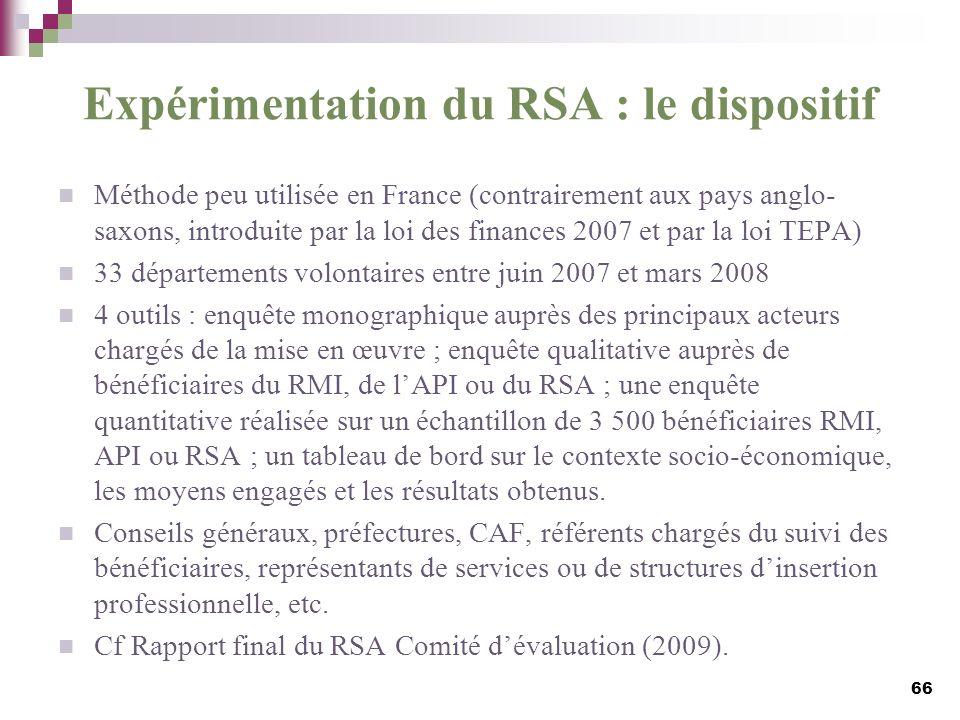 Expérimentation du RSA : le dispositif Méthode peu utilisée en France (contrairement aux pays anglo- saxons, introduite par la loi des finances 2007 e