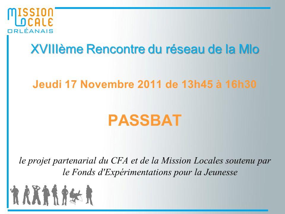 XVIIIème Rencontre du réseau de la Mlo Jeudi 17 Novembre 2011 de 13h45 à 16h30 PASSBAT le projet partenarial du CFA et de la Mission Locales soutenu par le Fonds d Expérimentations pour la Jeunesse