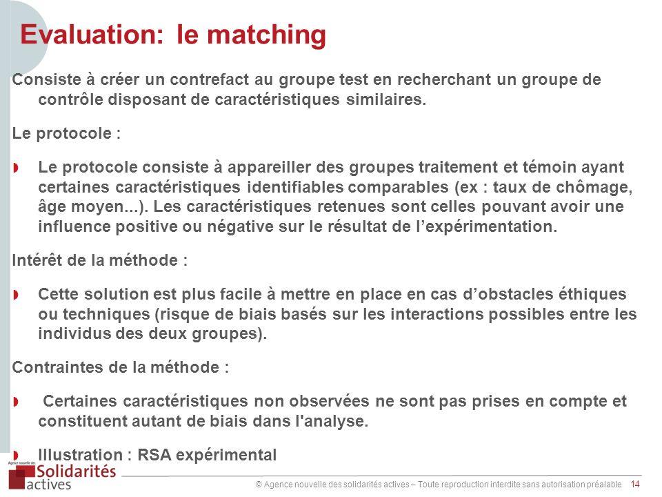© Agence nouvelle des solidarités actives – Toute reproduction interdite sans autorisation préalable 14 Evaluation: le matching Consiste à créer un co
