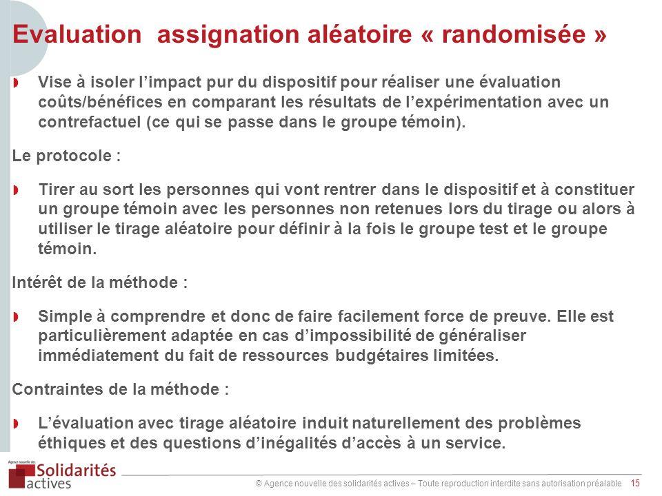 © Agence nouvelle des solidarités actives – Toute reproduction interdite sans autorisation préalable 15 Evaluation assignation aléatoire « randomisée