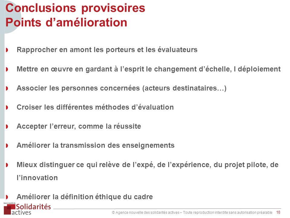 © Agence nouvelle des solidarités actives – Toute reproduction interdite sans autorisation préalable 18 Conclusions provisoires Points damélioration R