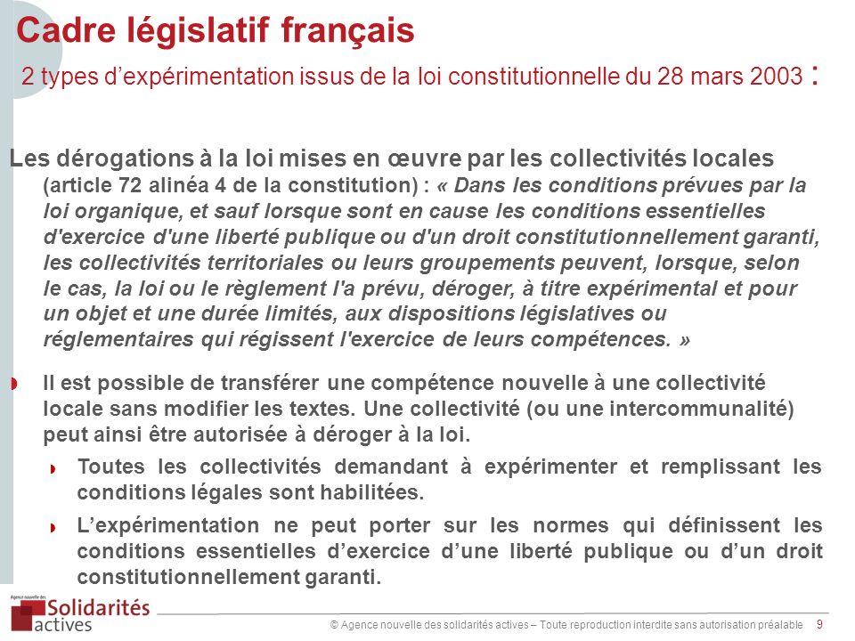 © Agence nouvelle des solidarités actives – Toute reproduction interdite sans autorisation préalable 9 Cadre législatif français 2 types dexpérimentat