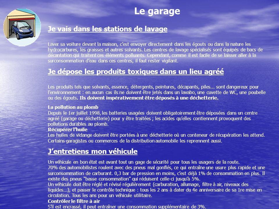 Le garage Je vais dans les stations de lavage Laver sa voiture devant la maison, cest envoyer directement dans les égouts ou dans la nature les hydrocarbures, les graisses et autres solvants.