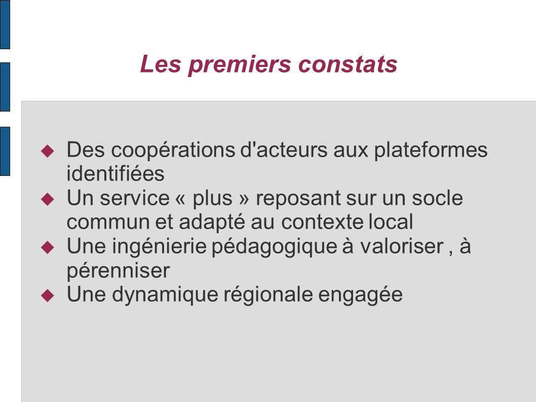 Les premiers constats Des coopérations d'acteurs aux plateformes identifiées Un service « plus » reposant sur un socle commun et adapté au contexte lo