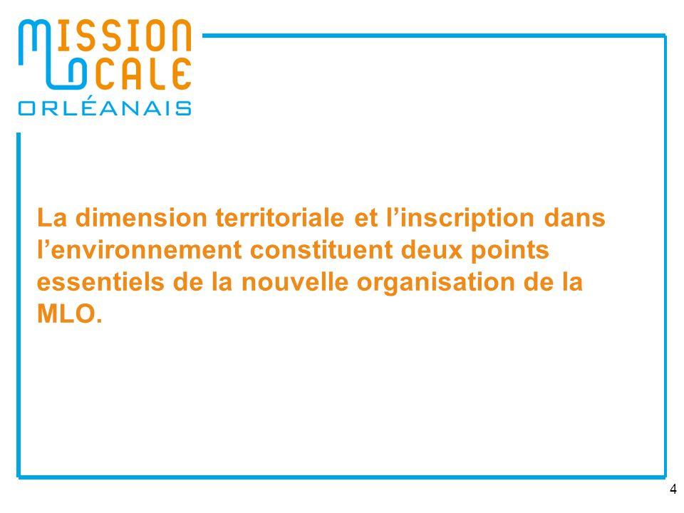 4 La dimension territoriale et linscription dans lenvironnement constituent deux points essentiels de la nouvelle organisation de la MLO.