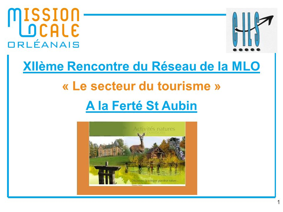 1 XIIème Rencontre du Réseau de la MLO « Le secteur du tourisme » A la Ferté St Aubin