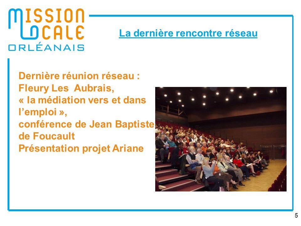 5 La dernière rencontre réseau Dernière réunion réseau : Fleury Les Aubrais, « la médiation vers et dans lemploi », conférence de Jean Baptiste de Foucault Présentation projet Ariane