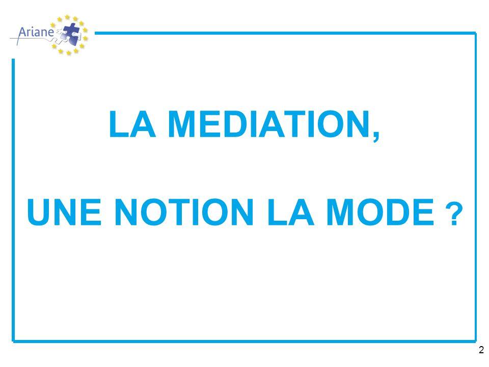 2 LA MEDIATION, UNE NOTION LA MODE ?