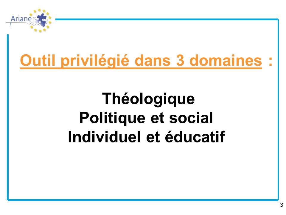 3 Outil privilégié dans 3 domaines : Théologique Politique et social Individuel et éducatif