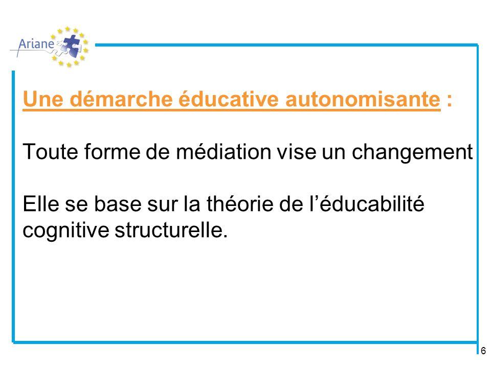 6 Une démarche éducative autonomisante : Toute forme de médiation vise un changement Elle se base sur la théorie de léducabilité cognitive structurelle.