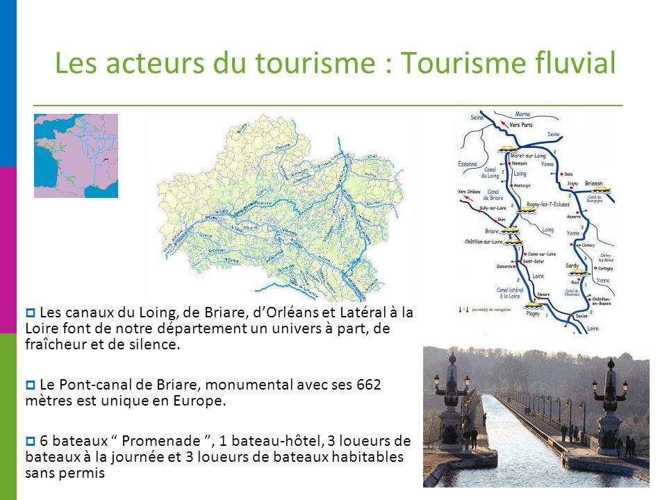 Les acteurs du tourisme : Tourisme fluvial Les canaux du Loing, de Briare, dOrléans et Latéral à la Loire font de notre département un univers à part, de fraîcheur et de silence.