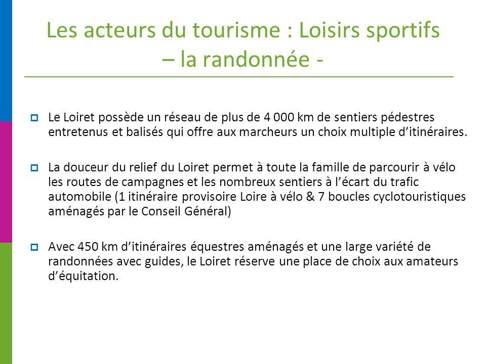 Les acteurs du tourisme : Loisirs sportifs – la randonnée - Le Loiret possède un réseau de plus de 4 000 km de sentiers pédestres entretenus et balisés qui offre aux marcheurs un choix multiple ditinéraires.
