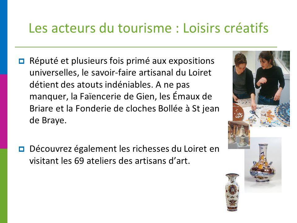 Les acteurs du tourisme : Loisirs créatifs Réputé et plusieurs fois primé aux expositions universelles, le savoir-faire artisanal du Loiret détient des atouts indéniables.