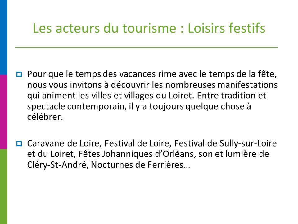 Les acteurs du tourisme : Loisirs festifs Pour que le temps des vacances rime avec le temps de la fête, nous vous invitons à découvrir les nombreuses manifestations qui animent les villes et villages du Loiret.