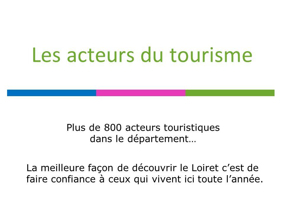 Les acteurs du tourisme Plus de 800 acteurs touristiques dans le département… La meilleure façon de découvrir le Loiret cest de faire confiance à ceux qui vivent ici toute lannée.