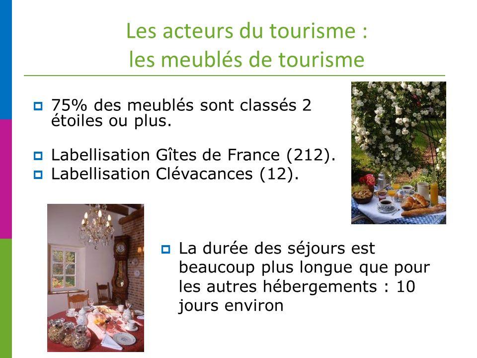 Les acteurs du tourisme : les meublés de tourisme 75% des meublés sont classés 2 étoiles ou plus.