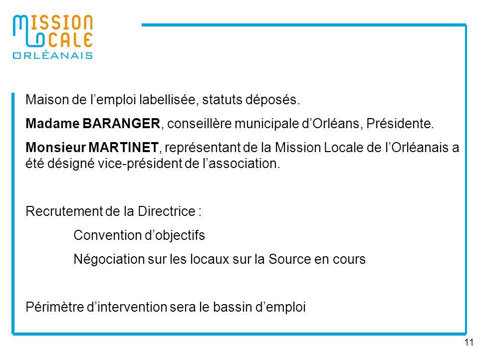11 Maison de lemploi labellisée, statuts déposés. Madame BARANGER, conseillère municipale dOrléans, Présidente. Monsieur MARTINET, représentant de la