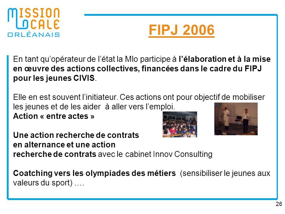 26 FIPJ 2006 En tant quopérateur de létat la Mlo participe à lélaboration et à la mise en œuvre des actions collectives, financées dans le cadre du FI