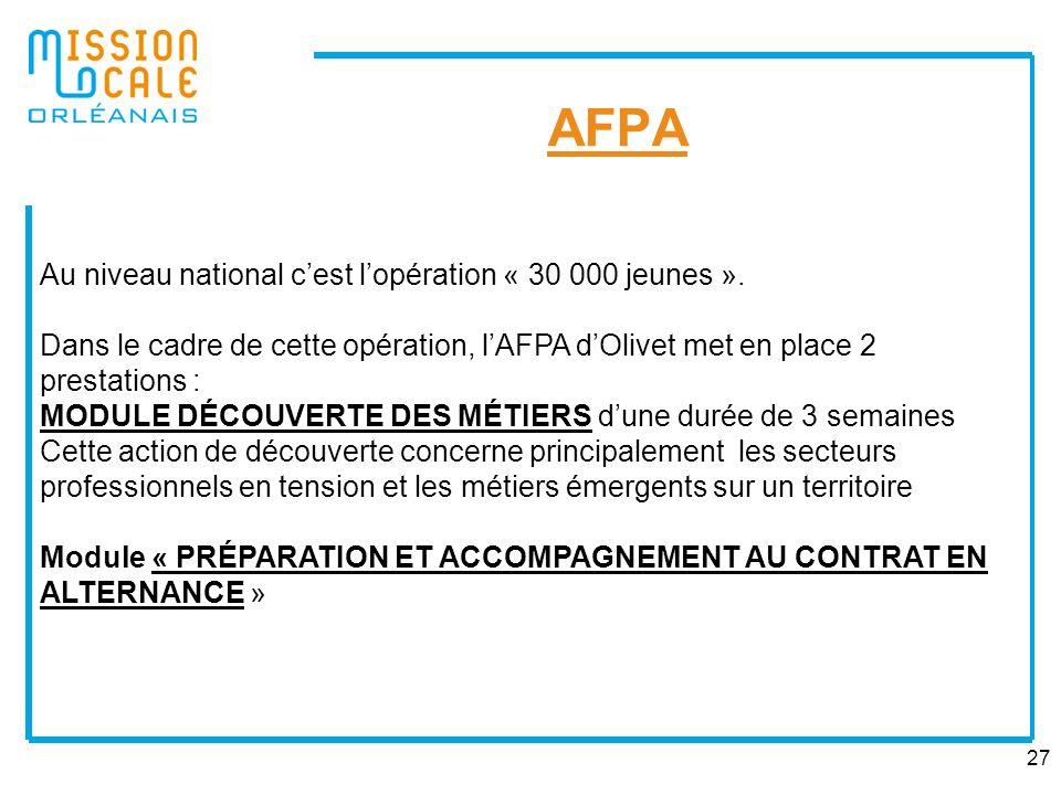 27 AFPA Au niveau national cest lopération « 30 000 jeunes ». Dans le cadre de cette opération, lAFPA dOlivet met en place 2 prestations : MODULE DÉCO