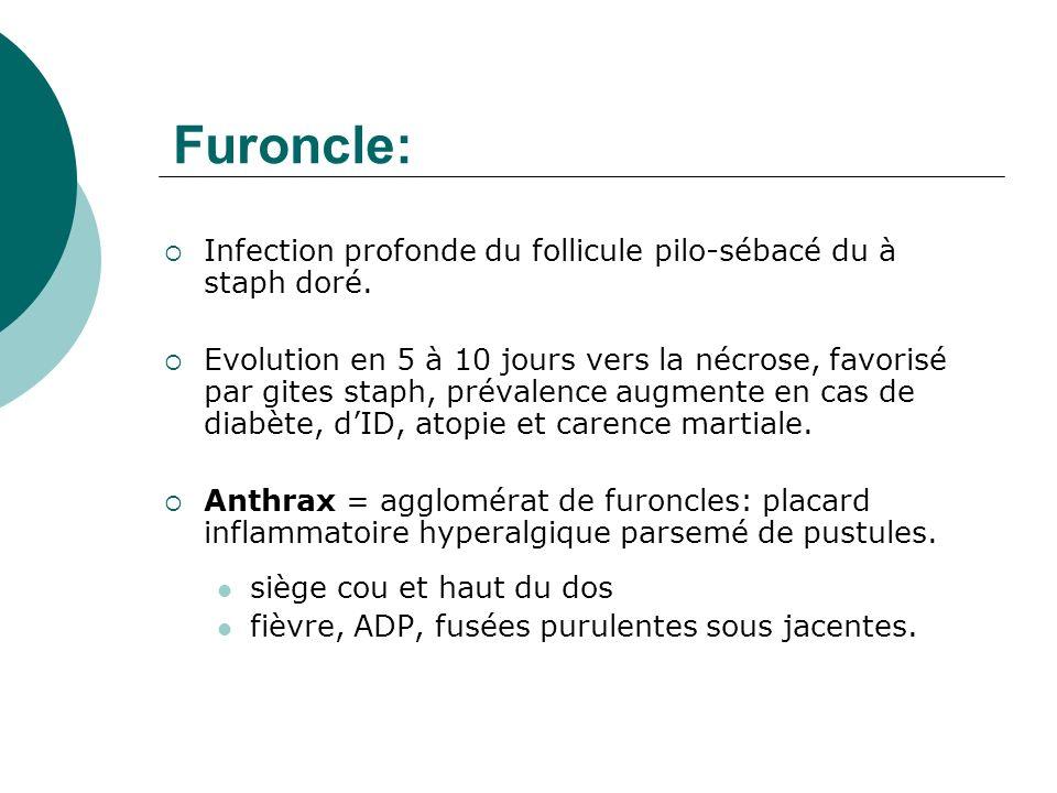 Furoncle: Infection profonde du follicule pilo-sébacé du à staph doré. Evolution en 5 à 10 jours vers la nécrose, favorisé par gites staph, prévalence