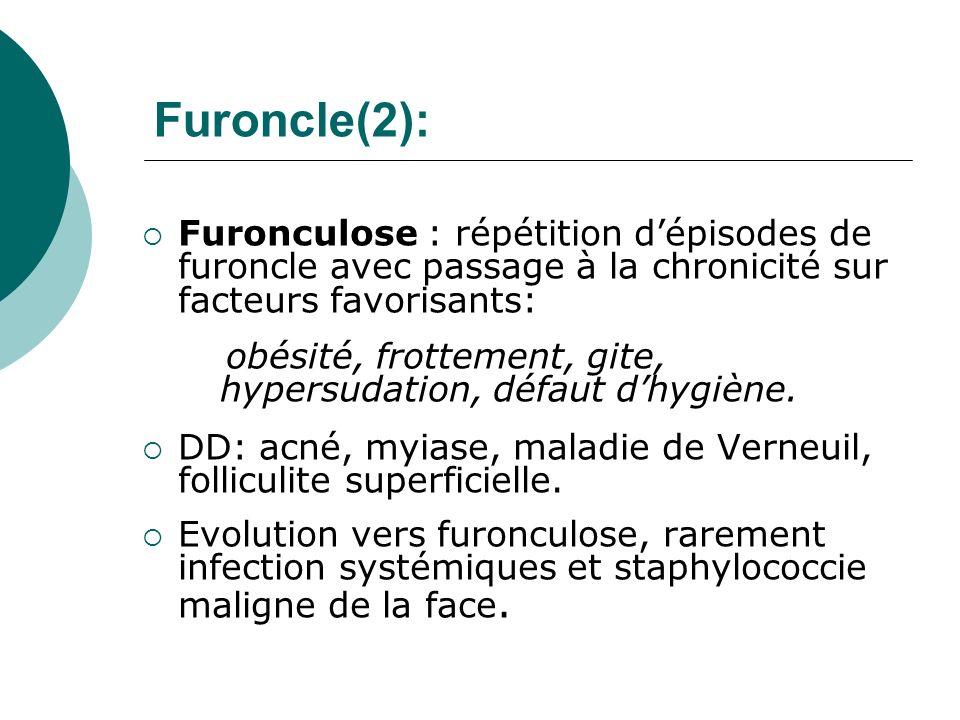 Furoncle(2): Furonculose : répétition dépisodes de furoncle avec passage à la chronicité sur facteurs favorisants: obésité, frottement, gite, hypersud