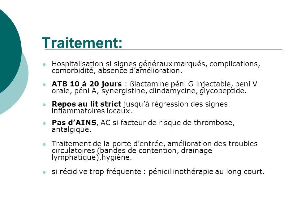 Traitement: Hospitalisation si signes généraux marqués, complications, comorbidité, absence damélioration. ATB 10 à 20 jours : ßlactamine péni G injec