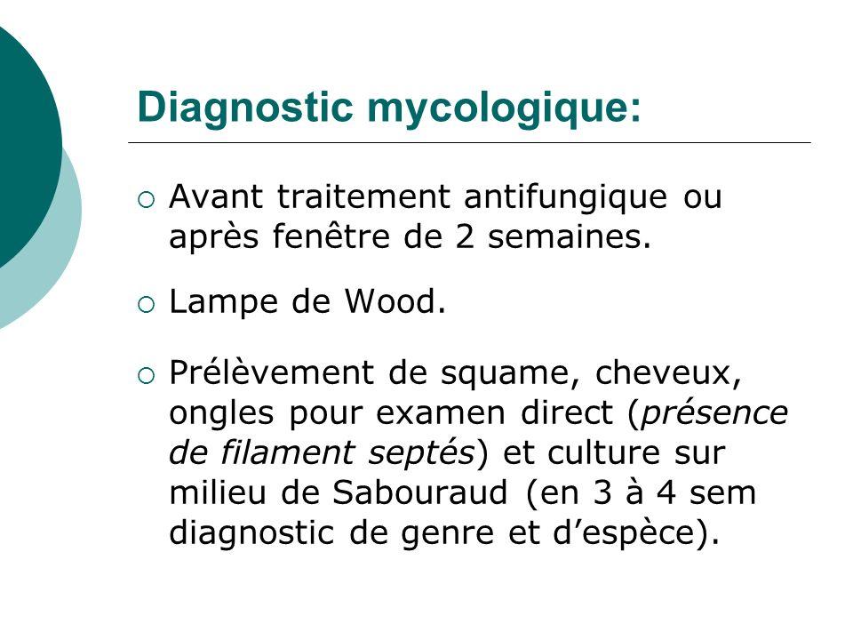 Diagnostic mycologique: Avant traitement antifungique ou après fenêtre de 2 semaines. Lampe de Wood. Prélèvement de squame, cheveux, ongles pour exame