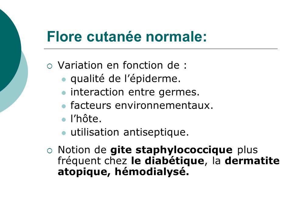 Flore cutanée normale: Variation en fonction de : qualité de lépiderme. interaction entre germes. facteurs environnementaux. lhôte. utilisation antise
