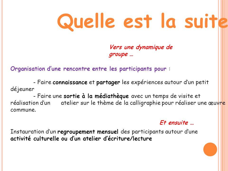 Quelle est la suite ? Vers une dynamique de groupe … Organisation dune rencontre entre les participants pour : - Faire connaissance et partager les ex