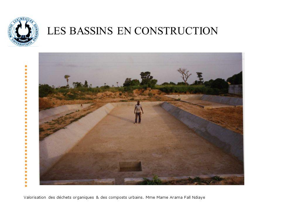 Valorisation des déchets organiques & des composts urbains. Mme Mame Arama Fall Ndiaye LES BASSINS EN CONSTRUCTION