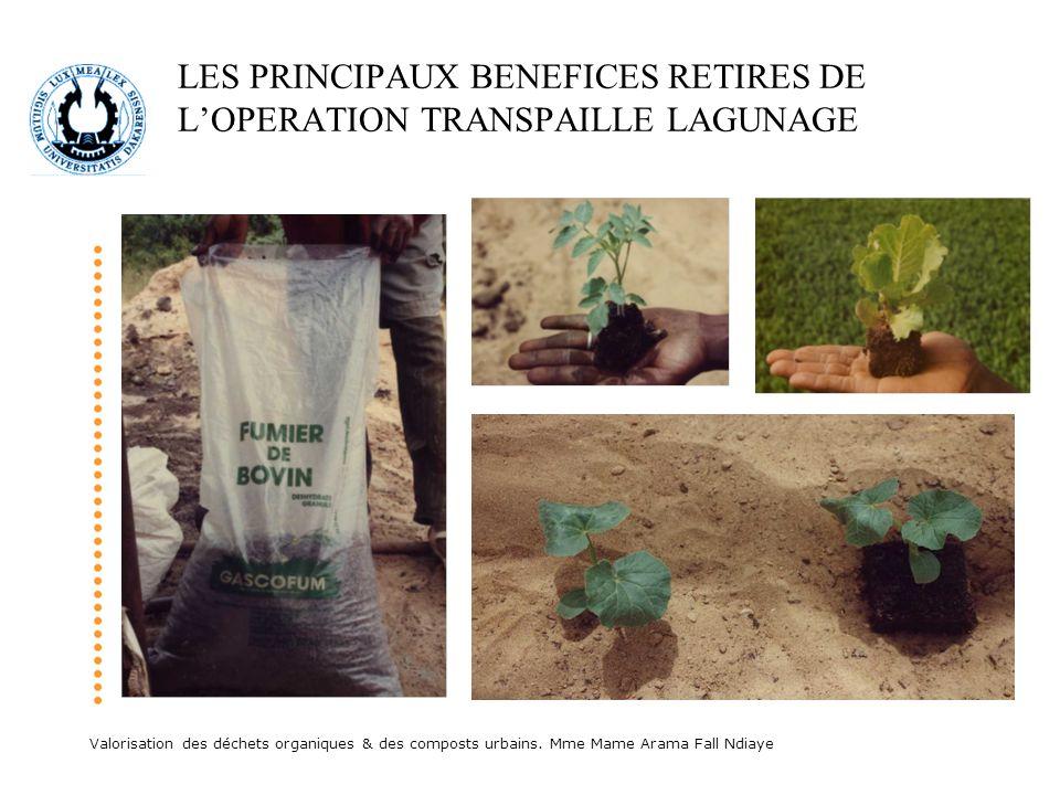 Valorisation des déchets organiques & des composts urbains. Mme Mame Arama Fall Ndiaye LES PRINCIPAUX BENEFICES RETIRES DE LOPERATION TRANSPAILLE LAGU
