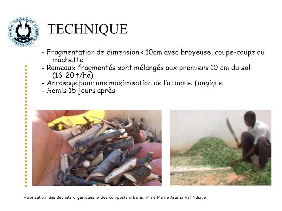 Valorisation des déchets organiques & des composts urbains. Mme Mame Arama Fall Ndiaye TECHNIQUE - Fragmentation de dimension < 10cm avec broyeuse, co
