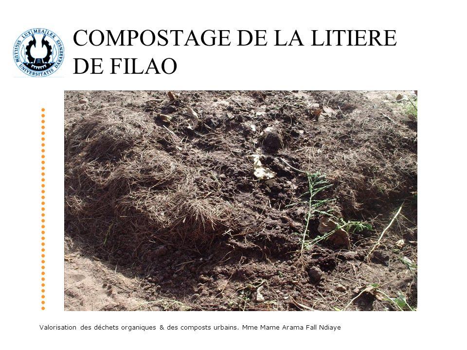 Valorisation des déchets organiques & des composts urbains. Mme Mame Arama Fall Ndiaye COMPOSTAGE DE LA LITIERE DE FILAO