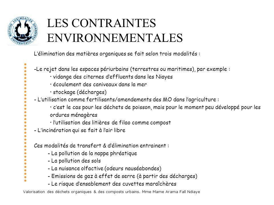 Valorisation des déchets organiques & des composts urbains. Mme Mame Arama Fall Ndiaye LES CONTRAINTES ENVIRONNEMENTALES Lélimination des matières org