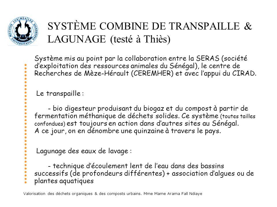 Valorisation des déchets organiques & des composts urbains. Mme Mame Arama Fall Ndiaye SYSTÈME COMBINE DE TRANSPAILLE & LAGUNAGE (testé à Thiès) Systè